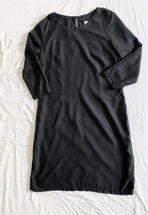 Schwarzes Kleid / Longbluse mit Dreiviertelärmeln von GLIMPSE Humanitarian Fashion