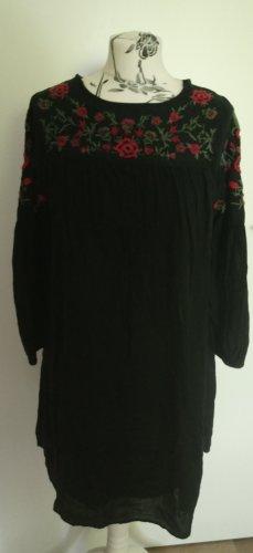 Schwarzes Kleid mit Blumen Zara XS