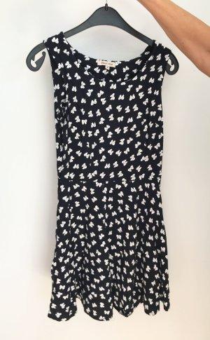 Schwarzes Kleid mit Comic Schleifen Druck