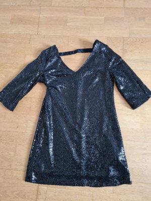 Schwarzes Kleid mit Glitzer Pailletten Minikleid