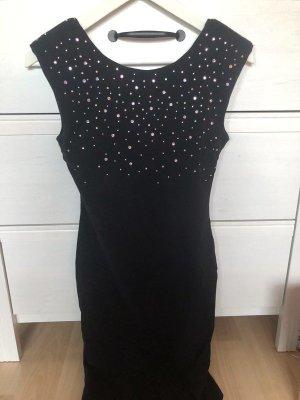 Schwarzes Kleid mit Glitzersteinen