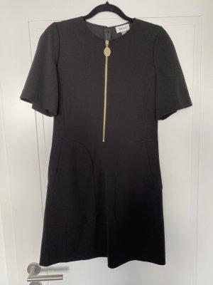 Schwarzes Kleid mit kurzen Ärmeln und Taschen und goldenem Zierreißverschluss von DKNY
