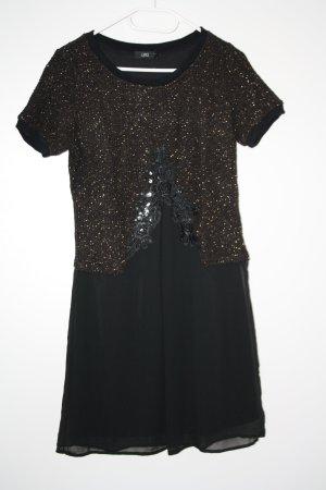 schwarzes Kleid mit Pailetten kurzarm Gr. 34/36