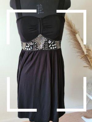 Schwarzes Kleid mit Pailettenverzierung, Gr. 38, Lipsy