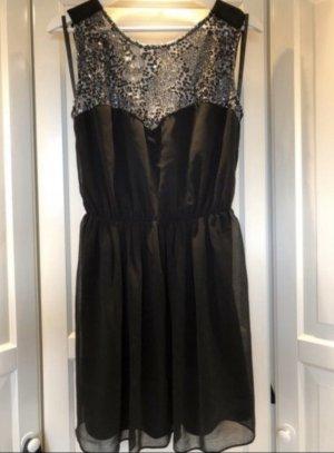Schwarzes Kleid mit Pailletten, Gr. 40