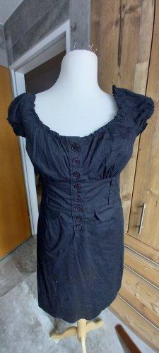 Schwarzes Kleid Puffärmel