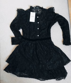 Schwarzes Kleid von ZARA aus Spitze und Samt in S.