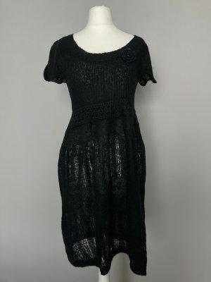 schwarzes Kleid - zartes Kleid von St. Tropez aus Wollmix - Strick