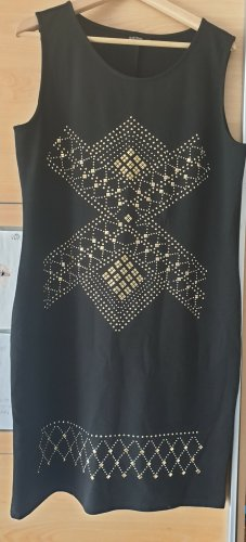 Schwarzes knielanges Abendkleid mit silber-goldenem Muster aus Steinen