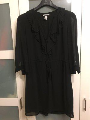 Schwarzes Kurzkleid mit Volant, H&M