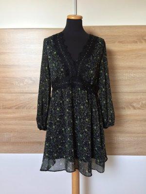 Schwarzes Langarm Blumen Kleid von Zara, Gr. M (NEUw.)