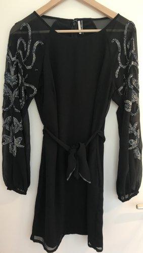 Schwarzes Langarm Kleid von TOPSHOP mit Schleife und Perlen Größe 38 Cocktailkleid
