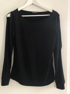 Schwarzes Langarmshirt mit Cut-outs an den Ärmeln