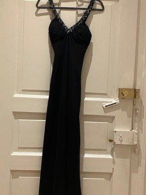 Schwarzes langes Abendkleid mit Pailletten-Stickereien, Gr. XXS