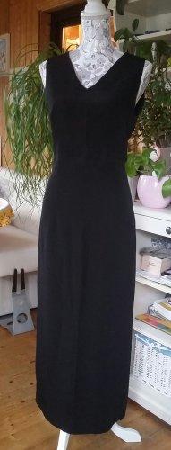 Schwarzes langes Viskosenkleid mit Schlitz, taliert, Egizia Italy