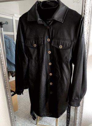 Chemise en cuir noir-gris anthracite tissu mixte