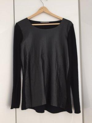 Schwarzes Lederoptik Shirt mit Baumwollteilen