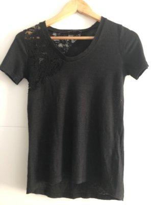 Schwarzes Leinen-Shirt