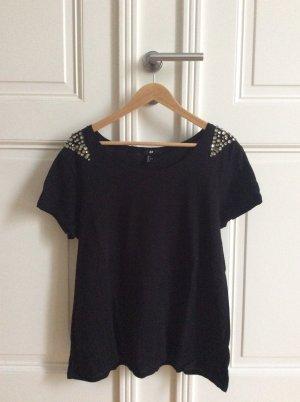 Schwarzes Leinen T- Shirt mit Schmucksteinen