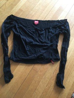 schwarzes, lockeres, schulterfreies Basic Sweatshirt