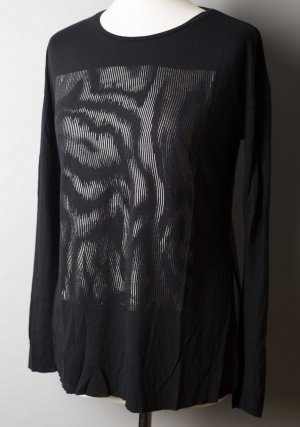 Schwarzes Longsleeve mit Seitenschlitz und silbernem Motiv