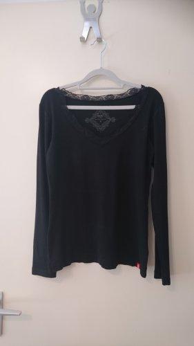 edc by Esprit Prążkowana koszulka czarny Bawełna