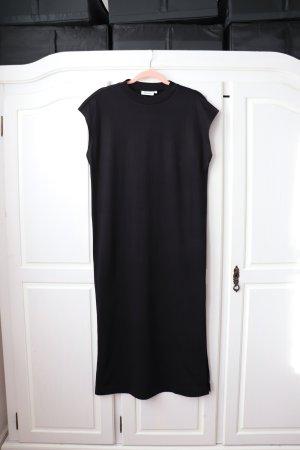 Schwarzes Maxi Kleid von Weekday mit Stehkragen und Schlitzen Größe S 36 38