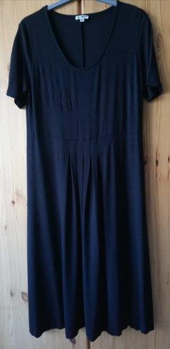 schwarzes midilanges Kleid aus Stretchjersey mit schwingendem Rockteil von DW-Shop