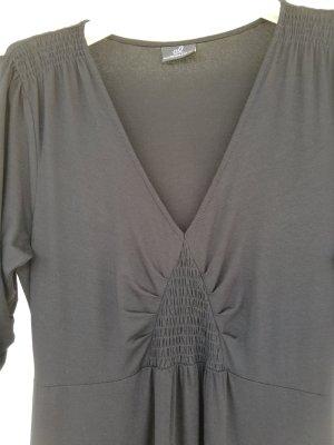 schwarzes midilanges Shirtkleid mit Smokdetails von Emilia Lay