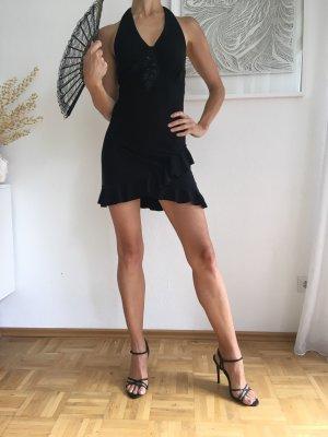 Schwarzes Mini neckholder Kleid mit Volants