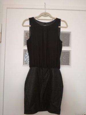 schwarzes Minikleid mit Kunstlederrock von Zara Trafaluc