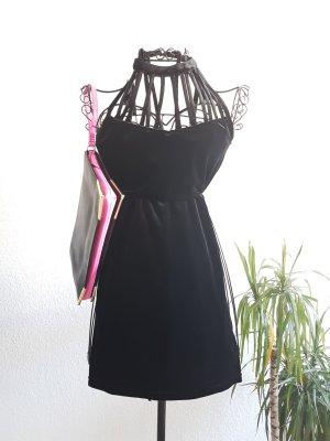Schwarzes Minikleid mit Samt Optik von H&M