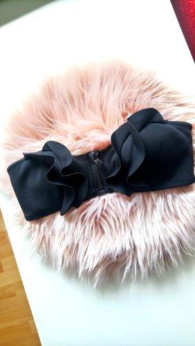 schwarzes Neopren Bikini Oberteil mit Rüschen