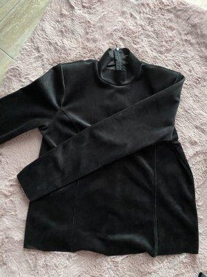 Schwarzes Oberteil M mit Schulterpolstern Samt ähnlicher Stoff von außen sehr schön elegant neu ❤️