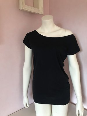 H&M Camisa de un solo hombro negro Algodón