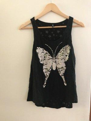 Schwarzes Pailletten-Top von Madonna Größe S/M mit Schmetterlingsmotiv