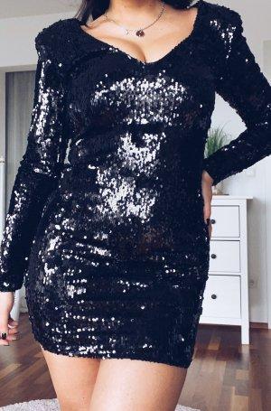 schwarzes Paillettenkleid