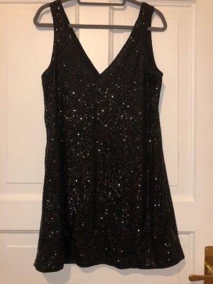 H&M Robe à paillettes noir polyester