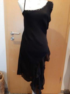 D.S. Vestido de un hombro negro Viscosa