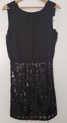 schwarzes Partykleid mit Pailletten Gr. 40
