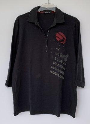 schwarzes Polo-Shirt, margittes, Strass-Motiv, Gr. 48