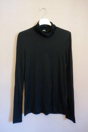 Schwarzes Rollkragenshirt, Shirt, Longsleeve mit Turtleneck, Seide, Arket, Basic, minimalistisch