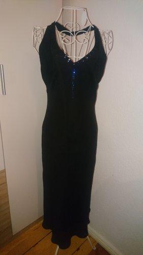 Schwarzes rückenfreies Abendkleid mit Pailletten M 38
