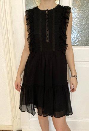 Schwarzes Rüschenblusen-Kleid