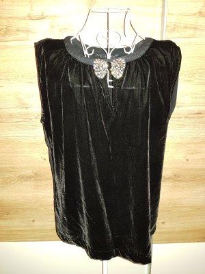 Schwarzes Samt Oversize Shirt Glitzer elegant