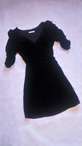Schwarzes Samtkleid Minikleid mit Raffungen Dreiviertelarm Black Velvet Grunge Bodycon