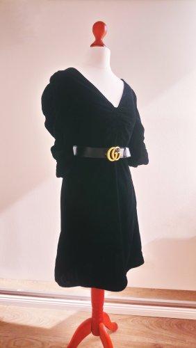 Mango Sukienka ze stretchu czarny-antracyt Tkanina z mieszanych włókien