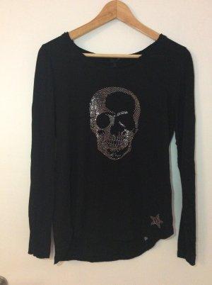 Schwarzes, schönes Sweatshirt mit glitzerndem Totenkof