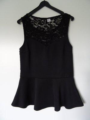 H&M Divided Peplum Top black polyester