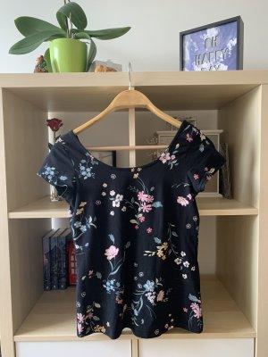 Schwarzes schulterfreies Tshirt Shirt Oberteil mit Blumenmuster